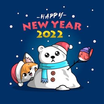 かわいいキツネは、クリスマスのイラストの外に鳥とクマの雪だるまを作っています