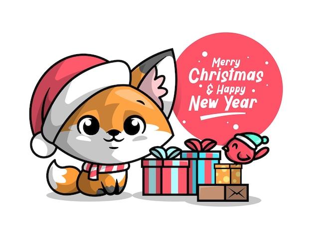 Милый лис сидется у рождественского подарока с рождественской иллюстрацией маленькой птицы