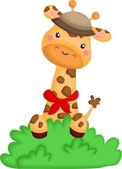 Милый жираф появляется из кустов