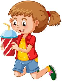 白い背景で隔離のドリンクカップの漫画のキャラクターを保持しているかわいい女の子
