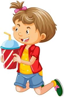 흰색 배경에 고립 된 음료 컵 만화 캐릭터를 들고 귀여운 소녀