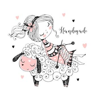 Милая девушка сидит на овце и вяжет шарф.