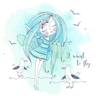 귀여운 소녀가 해변에 서서 새처럼 날아가는 꿈을 꿉니다. 그래픽과 수채화. 벡터.