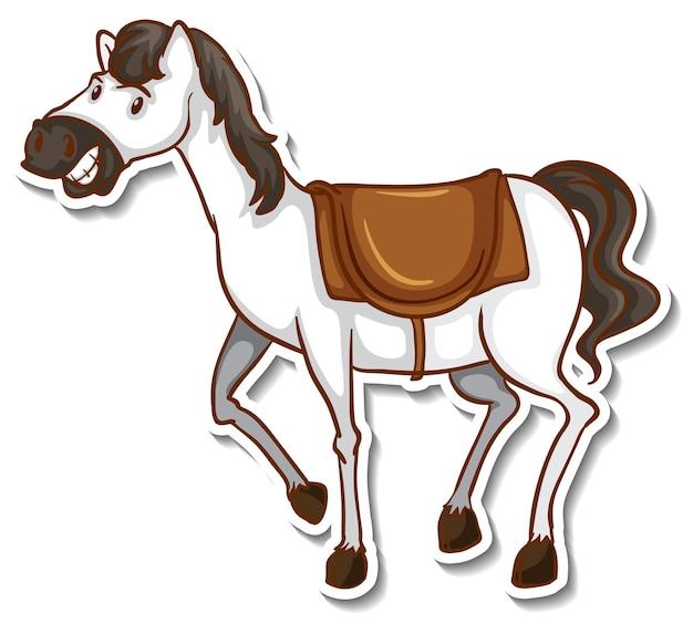 Наклейка с милой лошадью и мультяшным животным