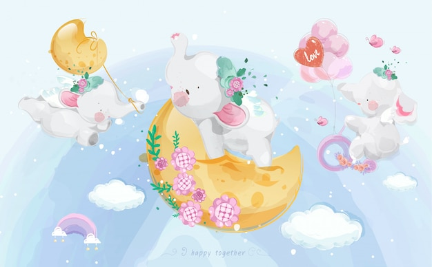 다채로운 수채화 스타일 세트에 귀여운 작은 코끼리.