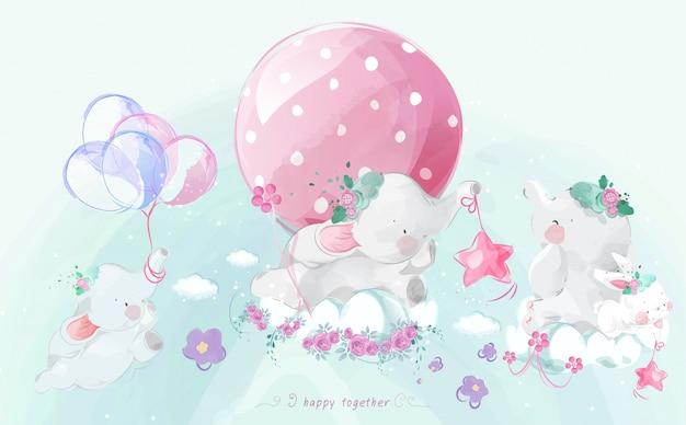 Милый маленький слон в красочном стиле акварели установлен.