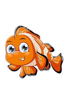 귀여운 작은 오렌지 광대 물고기, 동물 만화 그림