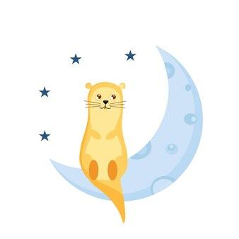 귀여운 작은 수달은 유치원을 위한 달 벡터 삽화에 앉아 있습니다
