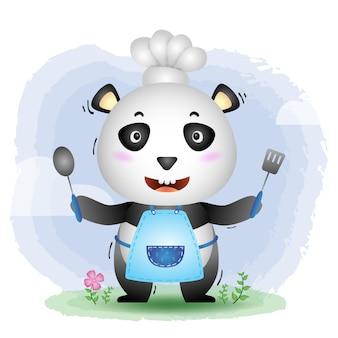 Милая маленькая панда-повар