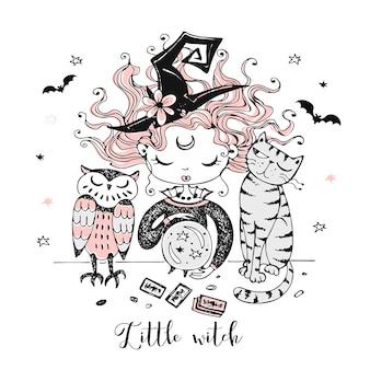 고양이와 올빼미를 가진 귀여운 작은 마녀가 수정 구슬을 바라 봅니다. 할로윈.