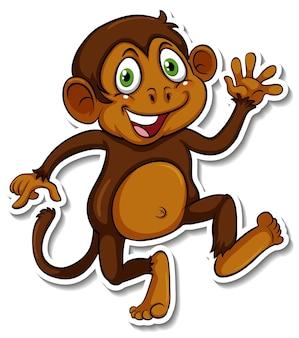 Наклейка с милой обезьяной и мультяшным животным