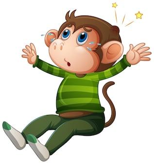 白い背景で隔離のtシャツの漫画のキャラクターを身に着けているかわいい猿