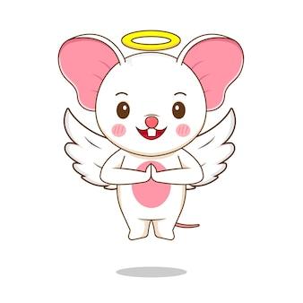 かわいいネズミの天使のキャラクター