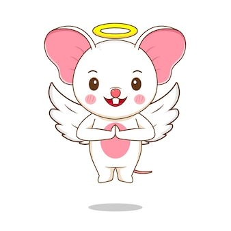Милый персонаж мыши ангел