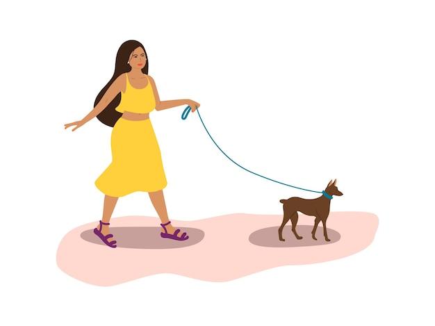 여름 옷을 입은 귀여운 혼탁이 강아지 일러스트와 함께 거리를 산책합니다.