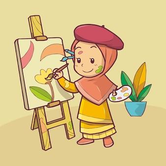 Милая мусульманская девушка рисует краской на холсте