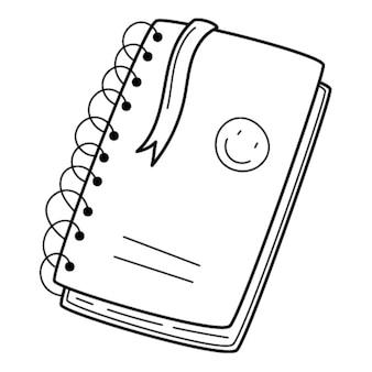 Симпатичный блокнот с пружинкой, наклейками и закладкой. каракули. рисованной черно-белые иллюстрации