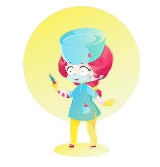 ピンクの髪のかわいい看護師が注射器を手に持っています。マンガ風に描く。明るい色の幼稚な漫画のスタイル