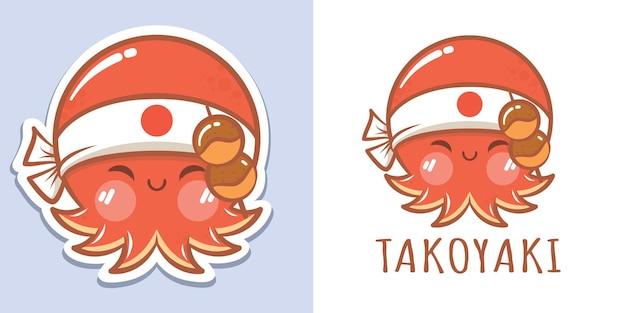 Симпатичный мультяшный осьминог с логотипом такояки и иллюстрацией талисмана