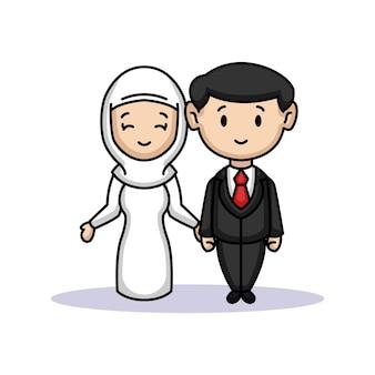 커플 신부와 신랑의 귀여운 그냥 결혼 프리미엄 벡터