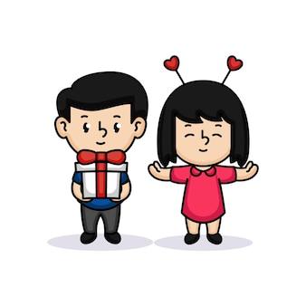 Милая пара детей в день святого валентина