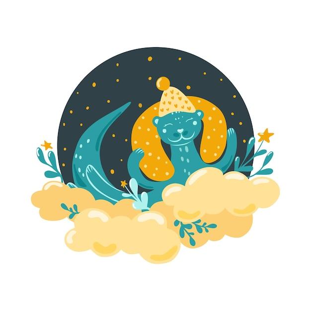 귀여운 수달이 구름 위에서 잔다. 스칸디나비아 스타일의 어린이 삽화. 침실 장식. 벡터.