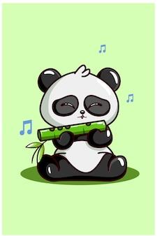 Милая панда дует на бамбуковой флейте