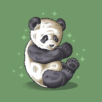 귀엽게 앉아 있는 귀여운 팬더 일러스트 벡터 그런지 스타일