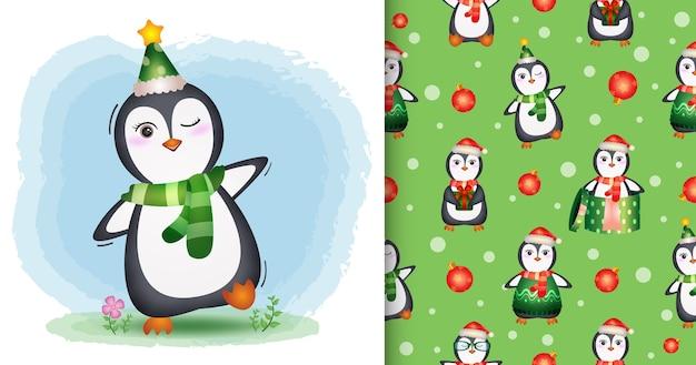帽子とスカーフのかわいいペンギンのクリスマスキャラクター