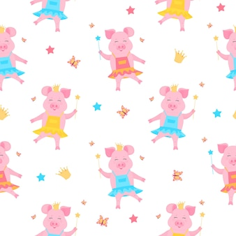 드레스를 입고 왕관을 쓰고 마술 지팡이를 든 귀여운 돼지 공주. 재미있는 새끼 돼지. 돼지 만화 캐릭터입니다.