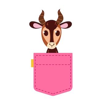 角のあるガゼルが覗くかわいいピンクのジーンズのポケット女の子のためのプリントテキストのテンプレート