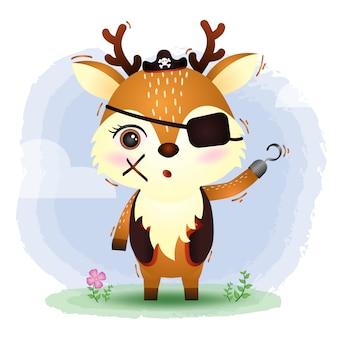 かわいい海賊鹿ベクトルイラスト