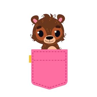 茶色の赤ちゃんクマが覗いているピンクのジーンズのかわいいポケット女の子のための印刷テキストのテンプレート