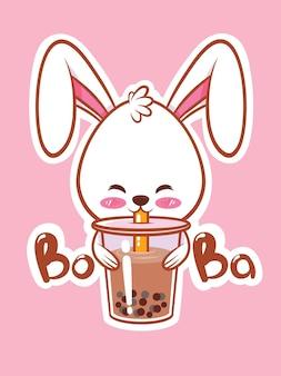 Милый кролик пьет чай боба мультипликационный персонаж иллюстрация