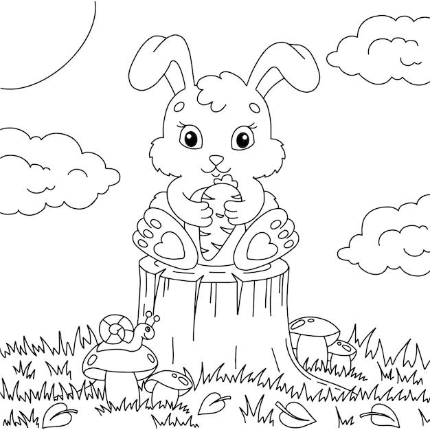 귀여운 토끼가 당근을 발에 쥐고 있다 아이들을 위한 색칠하기 책 페이지