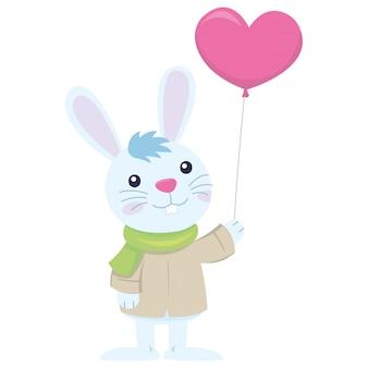 バレンタインの日に彼のパートナーを待っているかわいいウサギ