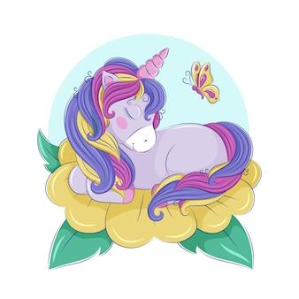 Милый радужный единорог спит на желтом цветке, рядом летит бабочка. детские иллюстрации, печать, открытки, плакаты. векторная графика eps10.