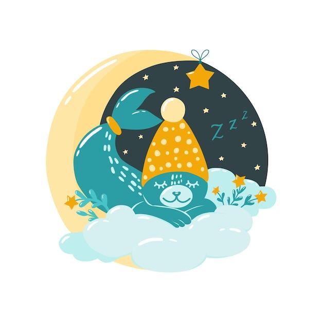 귀여운 바다표범이 달에 잠들어 있습니다. 스칸디나비아 스타일의 어린이 삽화. 침실 장식. 벡터.