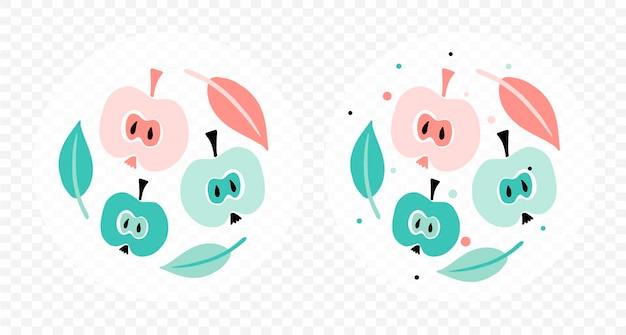 사과로 만든 귀여운 추상 콜라주 세트는 인쇄를 위한 세련된 미니멀리스트 스타일입니다