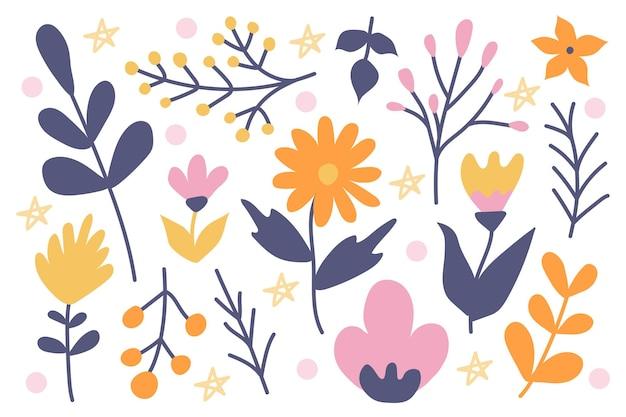 낙서 스타일로 손으로 그린 흰색 배경에 귀여운 식물과 꽃 세트