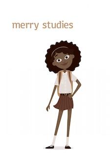 茶色の巻き毛と肩にランドセルを持つかわいい笑顔のアフリカ系アメリカ人の学校の女の子。漫画イラスト。白い背景で隔離