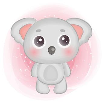 Милая акварельная иллюстрация коалы.