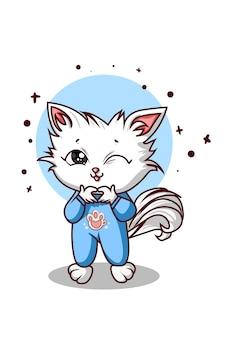 Милый белый кот, образуя любовный палец на синем фоне