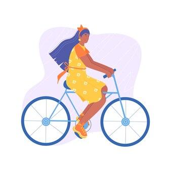 黄色のドレスを着たかわいい女性が自転車に乗っています。漫画のスタイルで。