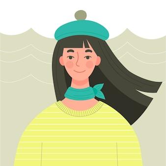베레모에 길고 검은 머리를 가진 귀여운 어린 소녀. 가을 의상, 파리 패션. 플랫 스타일의 캐릭터