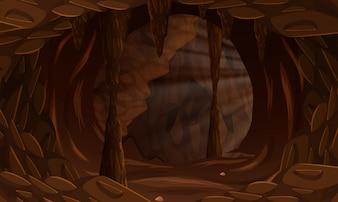 A dark cave landscape