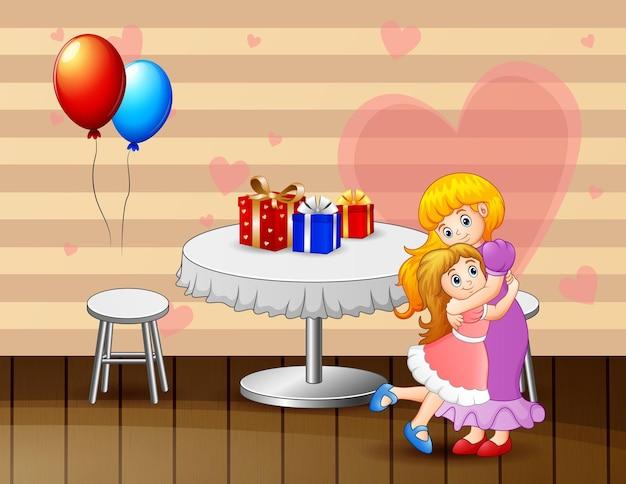 娘と母親がバレンタインデーを祝う