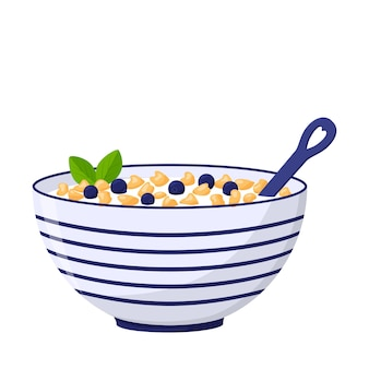 お粥、オーツ麦フレーク、ブルーベリーの入った深いボウル。健康的な朝食。食品、乳製品。