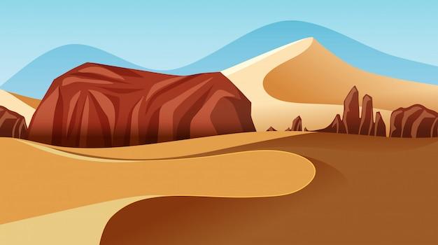 砂漠の風景の昼の時間