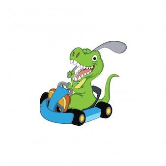 персонаж динозавров, играющий в гольф с гоночным автомобилем